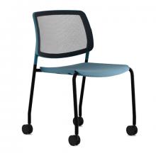 Silla interlocutora económica estructura en tubo de acero asiento tapizado con ruedas
